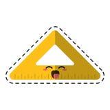 Cartoon triangle ruler school cut line. Vector illustration eps 10 Stock Images