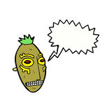 cartoon tribal mask with speech bubble Stock Photos