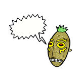cartoon tribal mask with speech bubble Stock Images