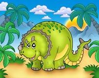 Cartoon triceratops in landscape. Color illustration Stock Image