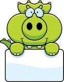 Cartoon Triceratops Sign Royalty Free Stock Photos