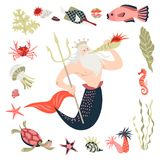 Cartoon triton surrounded by tropical fish, animal, seaweed and corals. Fairy tale character.  Sea life. Set of cute isolated vector illustrations on white Royalty Free Stock Image