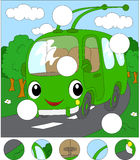 Cartoon trolleybus in the forest road. Complete the puzzle and f Royalty Free Stock Images
