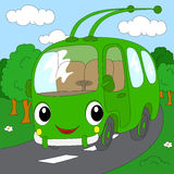 Cartoon trolleybus in the forest road. Vector illustration Stock Photography