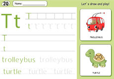 Cartoon trolleybus and turtle. Alphabet tracing worksheet Stock Photography