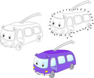 Cartoon trolleybus. Vector illustration. Coloring and dot to dot Stock Photo