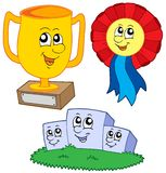 Cartoon trophies collection. Vector illustration Royalty Free Stock Photos