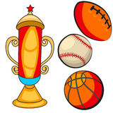 Cartoon trophy with ball Royalty Free Stock Photography