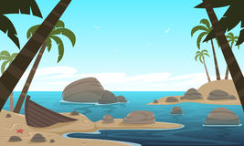 Cartoon Tropical Beach. Cartoon illustration of the tropical beach with old boat and the ocean in the background Royalty Free Stock Photo