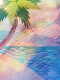 Grunge cartoon beach with palm Stock Photo