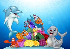 Cartoon tropical fish with Beautiful Underwater World Royalty Free Stock Photography