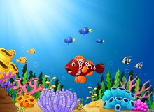 Cartoon tropical fish with beautiful underwater world. Illustration of Cartoon tropical fish with beautiful underwater world Royalty Free Stock Photography