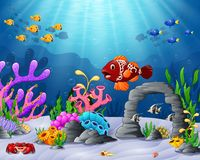 Cartoon tropical fish with beautiful underwater world. Illustration of Cartoon tropical fish with beautiful underwater world Stock Image