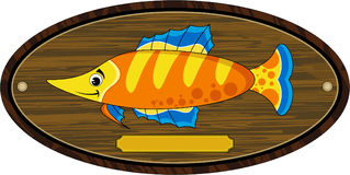 Cartoon Tropical Fish On Trophy Mount Stock Photo
