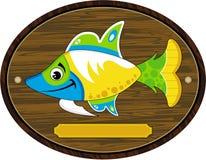 Cartoon Tropical Fish On Trophy Mount Royalty Free Stock Photos