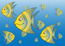 Cartoon tropical fishes. Hand drawn illustration of a school of tropical fish Stock Image