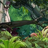 Cartoon tropical forest with trees and plants. Cartoon tropical forest with a tumbled down tree and lush growing plants stock illustration