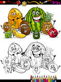 Cartoon tropical fruits for coloring book Stock Image