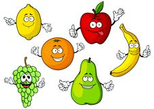 Cartoon tropical and garden fruits characters Stock Photos
