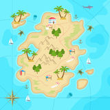 Cartoon tropical island in ocean. Top view exotic island map. Vector game design for app. Stock Image