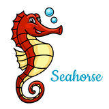 Cartoon tropical marine seahorse fish character Stock Photography