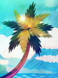 Grunge cartoon palm and sea Royalty Free Stock Photo
