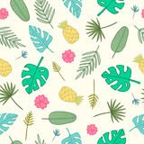 Cartoon tropical pattern. Leaves, palms, pineapples, flowers. Royalty Free Stock Images