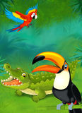 Cartoon tropical or safari - illustration for the children Stock Images