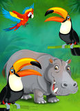 Cartoon tropical or safari - illustration for the children Stock Photos
