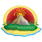 Cartoon tropical volcano. Stock Photo
