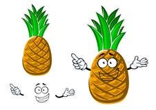 Cartoon tropical yellow pineapple fruit Stock Photos