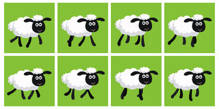 Cartoon trotting sheep animation sprite Royalty Free Stock Images
