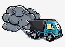 Cartoon truck blowing exhaust fumes Stock Photos