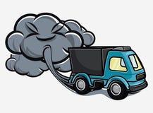 Cartoon truck blowing exhaust fumes. Vector illustration of the Cartoon truck blowing exhaust fumes Stock Photos