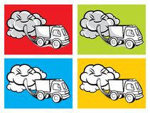 Cartoon truck blowing exhaust fumes Stock Images