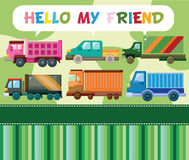 Cartoon truck card Stock Image