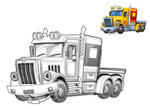Cartoon truck - caricature - coloring page Royalty Free Stock Images