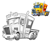 Cartoon truck - caricature - coloring page Stock Image