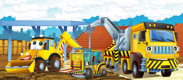Cartoon truck excavator and forklift Royalty Free Stock Photography
