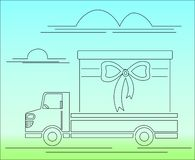 Cartoon truck with a gift royalty free illustration