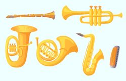 Cartoon trumpet. Winds musical instruments. Music instrument vector collection royalty free illustration