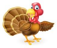 Cartoon Turkey Bird Pointing Royalty Free Stock Images