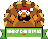Cartoon Turkey Christmas Banner Royalty Free Stock Photo