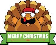 Cartoon Turkey Christmas Banner Royalty Free Stock Photo