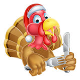 Cartoon Turkey in Christmas Santa Hat Holding Knife and Fork Royalty Free Stock Image