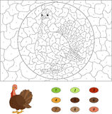 Cartoon turkey. Color by number educational game for kids. Vecto Royalty Free Stock Photos
