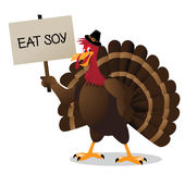 Cartoon turkey with eat soy sign Stock Images