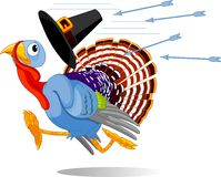 Cartoon Turkey escapes from the arrows Stock Photo