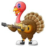 Cartoon turkey with a guitar. Illustration of Cartoon turkey with a guitar Stock Photo