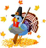Cartoon Turkey with with a gun Stock Image